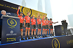 Trek-Segafredo team riders at sign on before the start of Stage 2 The  Ras Al Khaimah Stage of the Dubai Tour 2018 the Dubai Tour&rsquo;s 5th edition, running 190km from Skydive Dubai to Ras Al Khaimah, Dubai, United Arab Emirates. 7th February 2018.<br /> Picture: LaPresse/Massimo Paolone | Cyclefile<br /> <br /> <br /> All photos usage must carry mandatory copyright credit (&copy; Cyclefile | LaPresse/Massimo Paolone)