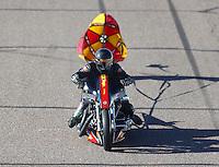 Feb 24, 2017; Chandler, AZ, USA; NHRA top fuel nitro Harley Davidson rider Rickey House during qualifying for the Arizona Nationals at Wild Horse Pass Motorsports Park. Mandatory Credit: Mark J. Rebilas-USA TODAY Sports