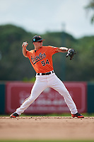 Baltimore Orioles shortstop Cadyn Grenier (54) throws to first base during a Florida Instructional League game against the Pittsburgh Pirates on September 22, 2018 at Ed Smith Stadium in Sarasota, Florida.  (Mike Janes/Four Seam Images)
