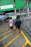 Players walk back to the changing rooms after the Under-14 representative rugby match between Manawatu (green and white) and Horowhenua-Kapiti (red white and blue) at Arena Manawatu, Palmerston North, New Zealand on Saturday, 5 September 2015. Photo: Dave Lintott / lintottphoto.co.nz