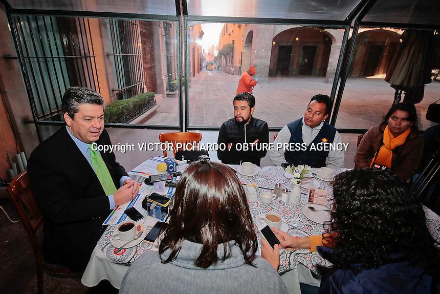 Quer&eacute;taro, Qro. 25 febrero 2016.- Aspectos rueda de prensa de Guillermo Tamborrel, presidente del Consejo Estatal Contra las Adicciones realizada esta ma&ntilde;ana en el restaurante 1810.<br /> <br /> Foto: Victor Pichardo / Obture Press Agency