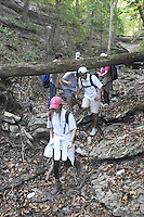 NWA Democrat-Gazette/FLIP PUTTHOFF <br /> A dry stream bed made a challenging trail Oct. 7, 2015 for outdoor education students.