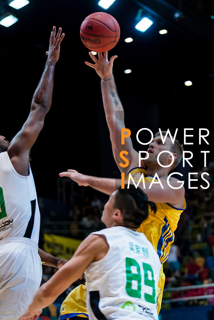Hosford Ian Daniel #5 of Winling Basketball Club shoots the ball against the Tycoon during the Hong Kong Basketball League playoff game between Tycoon and Winling at Queen Elizabeth Stadium on July 27, 2018 in Hong Kong. Photo by Yu Chun Christopher Wong / Power Sport Images