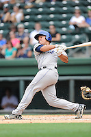 Designated hitter Wilfredo Rodriguez (3) of the Asheville Tourists bats in a game against the Greenville Drive on Sunday, July 20, 2014, at Fluor Field at the West End in Greenville, South Carolina. Asheville won game two of a doubleheader, 3-2. (Tom Priddy/Four Seam Images)