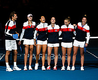 9th November 2019; RAC Arena, Perth, Western Australia, Australia; Fed Cup by BNP Paribas Tennis Final, Day 1, Australia versus France; French players after their National Anthem