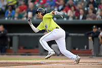Third baseman Mark Vientos (13) of the Columbia Fireflies runs out a batted ball in a game against the Charleston RiverDogs on Thursday, April 4, 2019, at Segra Park in Columbia, South Carolina. Charleston won, 2-1. (Tom Priddy/Four Seam Images)