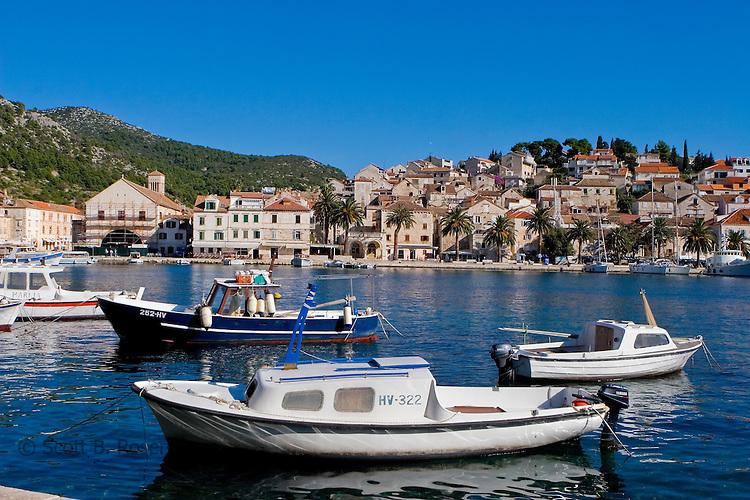 Boats in harbor in Hvar Town, Hvar Island, Croatia