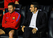 9th September 2017, Camp Nou, Barcelona, Spain; La Liga football, Barcelona versus Espanyol; Valverde (right) on the bench
