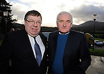 8-12-2014; Former Taoisigh Bertie Ahern and Brian Cowen at the funeral of former South Kerry TD Jackie Healy-Rae in Kilgarvan, County Kerry on Monday.<br /> Picture by Don MacMonagle