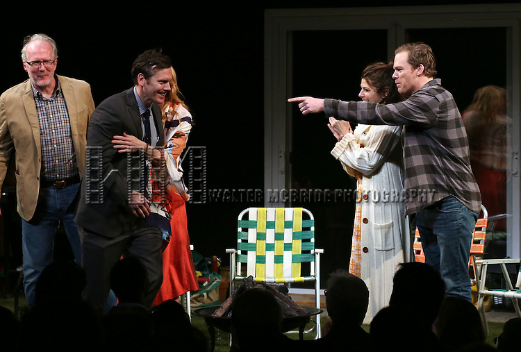 Tracy Letts, Toni Collette, Playwright Will Eno, Marisa Tomei and Michael C. Hall during the Broadway Opening Night Performance Curtain Call for 'The Realistic Joneses'  at the Lyceum Theatre on April 6, 2014 in New York City.