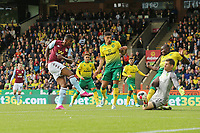 Wesley of Aston Villa in action score the opening goal during Norwich City vs Aston Villa, Premier League Football at Carrow Road on 5th October 2019