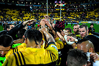 The Hurricanes huddle after the Super Rugby match between the Hurricanes and Crusaders at Westpac Stadium in Wellington, New Zealand on Saturday, 15 July 2017. Photo: Dave Lintott / lintottphoto.co.nz