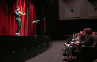 NWA Democrat-Gazette/DAVID GOTTSCHALK  Violinist Alexi Kenney performs Thursday, March 2, 2017, to a group of fine arts students at the new Farmington High School Performing Arts Center. Kenney's engagement is part of the Symphony of Northwest Arkansas's education outreach commitment. Kenney is performing with SONA as part of their Masterworks concerts series this weekend.