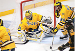 March 26,  2011                      Michigan goalie Shawn Hunwick (31) covers the goal amid a flurry of action late in the third period. The University of Michigan defeated Colorado College 2-1 in the championship game of the NCAA Division 1 Men's West Regional Hockey Tournament, on Saturday March 26, 2011 at the Scottrade Center in downtown St. Louis.