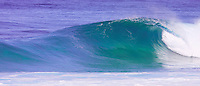 An empty wave barrels through Backdoor, on Oahu's North Shore. North Shore is known for having some of the world's best, most powerful waves during the winter season.