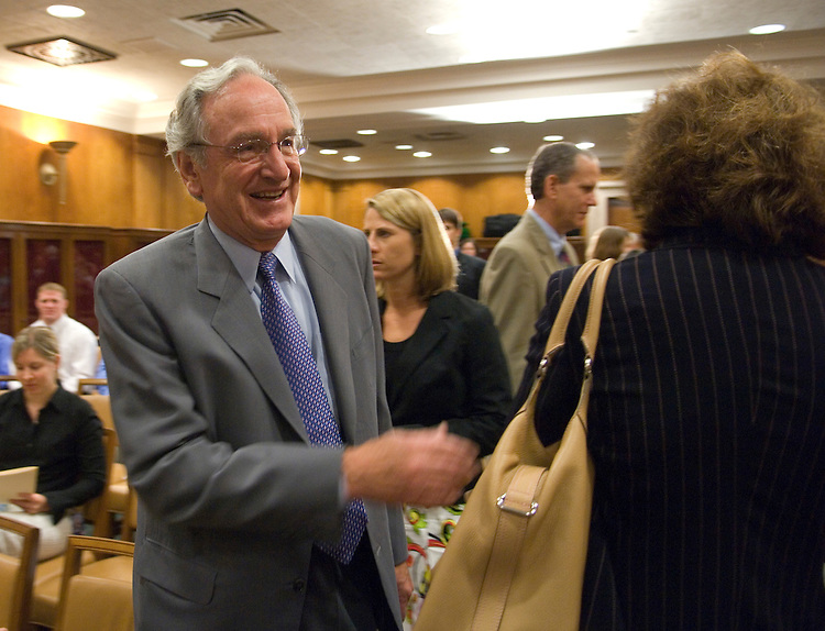 Sen. Tom Harkin, D-Iowa, arrives for his news conference to introduce the Healthy Work Act in the Dirkesen Senate Office Building on Monday, July 9, 2007. The legislation would provide for tax incentives to businesses that provide opportunities for their employees to lead healthier lives.