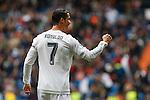 Real Madrid´s Cristiano Ronaldo celebrates a goal during 2015/16 La Liga match between Real Madrid and Sporting de Gijon at Santiago Bernabeu stadium in Madrid, Spain. January 17, 2015. (ALTERPHOTOS/Victor Blanco)