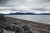 ALASKA, Homer, a view of the Kenai Mountains and Kachemak Bay from the Homer Spit