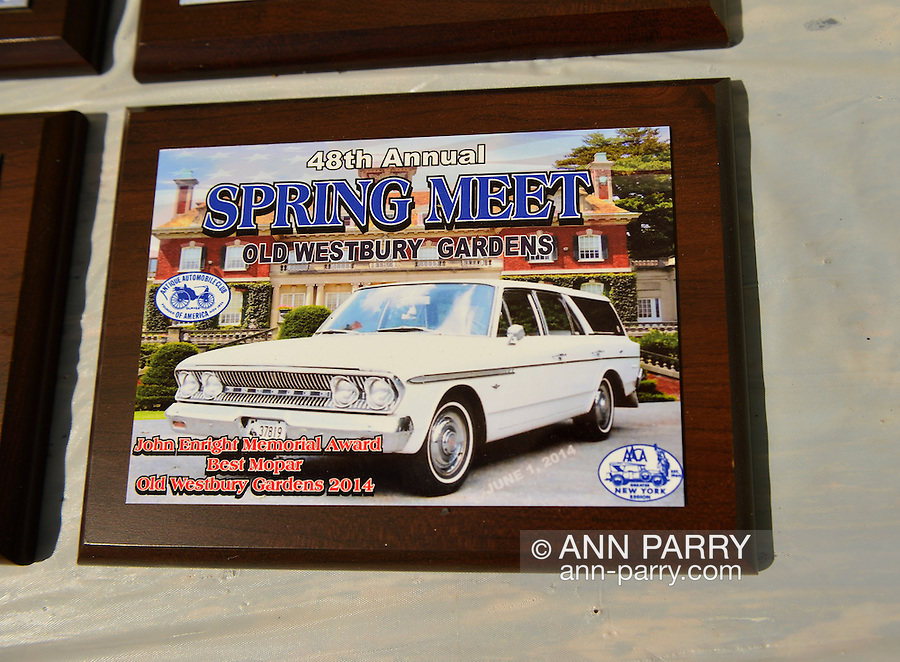 Old Westbury, New York, U.S. - June 1, 2014 -  An award plaque for Best Mopar is awarded at the Antique and Collectible Auto Show held on the historic grounds of elegant Old Westbury Gardens in Long Island, and sponsored by Greater New York Region AACA Antique Automobile Club of America.