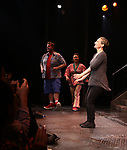 Nick kohn, Grace Choi, Maggie Lakiss during the 'Avenue Q' 15th Anniversary Performance Curtain Call at New World Stages on July 31, 2018 in New York City.