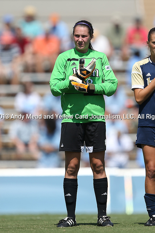 15 September 2013: Notre Dame's Kaela Little. The University of North Carolina Tar Heels hosted the University of Notre Dame Fighting Irish at Fetzer Field in Chapel Hill, NC in a 2013 NCAA Division I Women's Soccer match. Notre Dame won the game 1-0.