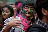 A man takes part during Holi Hai Celebration in New York , March 31, 2013. The festival has many purposes. First and foremost, it celebrates the beginning of the new season, spring.VIEWpress /Kena Betancur