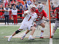 College Park, MD - April 22, 2018: Maryland Terrapins Connor Kelly (1) tries to run by a Ohio State Buckeyes defender during game between Ohio St. and Maryland at  Capital One Field at Maryland Stadium in College Park, MD.  (Photo by Elliott Brown/Media Images International)
