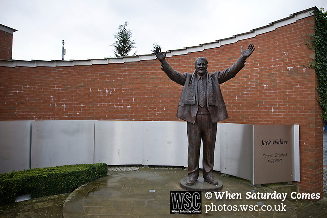 A statue of former owner Jack Walker outside Ewood Park, home of Blackburn Rovers, before the club played host to Aston Villa in a Barclays Premier League match. Blackburn won the match by two goals to nil watched by a crowd of 21,848. It was Rovers' first match under the ownership of Indian company Venky's.