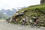 The peloton descend during Stage 19 of the 2019 Tour de France originally running 126.5km from Saint-Jean-de-Maurienne to Tignes but cut short to 88.5 km due to heavy hailstorms, France. 26th July 2019.<br /> Picture: ASO/Alex Broadway | Cyclefile<br /> All photos usage must carry mandatory copyright credit (© Cyclefile | ASO/Alex Broadway)
