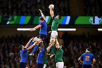 Peter O'Mahony of Ireland wins the ball at a lineout. Rugby World Cup Pool D match between France and Ireland on October 11, 2015 at the Millennium Stadium in Cardiff, Wales. Photo by: Patrick Khachfe / Onside Images