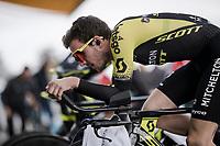 (eventual winner) Simon Yates (GBR/Mitchelton-Scott) warming up for Stage 5 (ITT): Barbentane to Barbentane (25km)<br /> 77th Paris - Nice 2019 (2.UWT)<br /> <br /> ©kramon