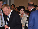 November 29, 2016, Tokyo, Japan - Tokyo Gov. Yuriko Koike exchanges worlds with an unidentified official following a four-party meeting to review costs and venues for the 2020 Tokyo Olympics and Paralympics at a Tokyo hotel on Tuesday, November 29, 2016. The four top-level representatives of the International Olympic Committee, 2020 Games organizers, the Tokyo Metropolitan and Japanese governments discussed details regarding the venues for rowing/canoe and volleyball based on proposals by the metropolitan government.  (Photo by Natsuki Sakai/AFLO) AYF -mis-
