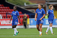 Eniola Aluko and Drew Spence of Chelsea Ladies walk towards the dressing room after the final whistle during Chelsea Ladies vs Liverpool Ladies, FA Women's Super League FA WSL1 Football at Kingsmeadow on 7th October 2017