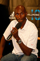 Bernard Lagat answering questions during press conference for the 101st. MILLROSE GAMES to be held at Madison Square Garden on Friday night February 3rd. 2008. Bernard will be running the WANAMAKER Miile. Photo by Errol Anderson,The Sporting Image.