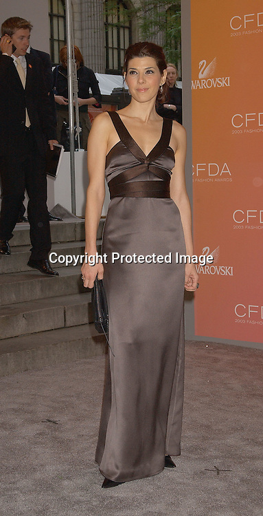 Marisa Tomei with designers Lazaro Hernandez & Jack ..Mccollough for Proenza Schouler                                       ..at the CFDA Fashion Awards on June 2,2003 at the ..New York Public Library. Photo by Robin Platzer, Twin Images