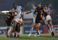 Rugby. High Wycombe, England. Joe Rokocoko of Bayonne tackled during the Amlin Challenge Cup match between London Wasps vs Bayonne at Adams Park on December 13, 2012 in High Wycombe, England.