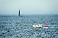Ram Island Ledge Lighthouse, Portland, Maine, ME, USA Circa 1905