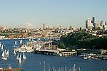 Seattle, Mount Rainier, Lake Union, South Lake Union, Duck Dodge sail boat race, Washington State, Pacific Northwest, Sunny day,