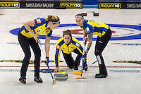 Glasgow. SCOTLAND. Sweden, playing in the second day of the Round Robin games at the  Le Gruy&egrave;re European Curling Championships. 2016 Venue, Braehead  Scotland<br /> Sunday  20/11/2016<br /> <br /> [Mandatory Credit; Peter Spurrier/Intersport-images]