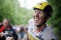 happy face for stage winner and new overall leader Sep Vanmarcke (BEL/LottoNL-Jumbo) <br />