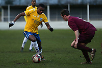 Jaden Thompson-Brissett of Woodford Town and Jason Brown of Leyton Athletic  during Leyton Athletic vs Woodford Town, Essex Senior League Football at Wadham Lodge Sports Ground on 1st December 2018