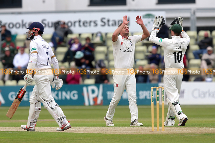 Ed Barnard of Worcestershire celebrates taking the wicket of James Foster during Worcestershire CCC vs Essex CCC, Specsavers County Championship Division 1 Cricket at Blackfinch New Road on 11th May 2018