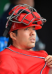 2 September 2012: Washington Nationals' catcher Kurt Suzuki prepares to face the visiting St. Louis Cardinals at Nationals Park in Washington, DC. The Nationals edged out the Cardinals 4-3, capping their 4-game series with three wins. Mandatory Credit: Ed Wolfstein Photo