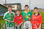 SKILLS: The individual boys winners of the Primary School Hurling Skills Finals at Austin Stack Park on Saturday l-r: Eoin Ross (Ballyduff 1st place), Barry O'Mahony (Kilflynn 3d place), Sean Curran (Kilmoyley 2nd place) and Michael Leen (Bouleenshere 4th place).