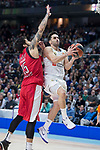 Real Madrid Facundo Campazzo and Olympiacos Piraeus Georgics Printezis during Turkish Airlines Euroleague match between Real Madrid and Olympiacos Piraeus at Wizink Center in Madrid , Spain. February 09, 2018. (ALTERPHOTOS/Borja B.Hojas)