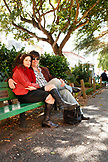 USA, California, San Francisco, a couple from Napa sit and enjoy the afternoon, Washington Square Park