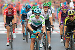 White Jersey Miguel Angel Lopez Moreno (COL) Astana Pro Team and Esteban Chaves (COL) Mitchelton-Scott cross the finish line safely at the end of Stage 3 of La Vuelta 2019 running 188km from Ibi. Ciudad del Juguete to Alicante, Spain. 26th August 2019.<br /> Picture: Colin Flockton | Cyclefile<br /> <br /> All photos usage must carry mandatory copyright credit (© Cyclefile | Colin Flockton)