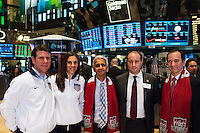 former U.S. Men's National Team star Jeff Agoos, U.S. women national team midfielder Carli Lloyd, U.S. Soccer president Sunil Gulati, Stefhan Jekel, managing director of EMEA, and New York Red Bulls General Manager Jerome de Bontin during the centennial celebration of U. S. Soccer at the New York Stock Exchange in New York, NY, on April 02, 2013.