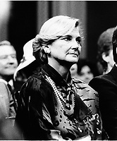 Quebec (QC) CANADA file photo -<br /> Dec 12 1985, Presentation of the new Robert Bourassa's Liberal Government at the National Assembly Salon Rouge. In photo : Andr&eacute;e Simard,,Robert Bourassa's wife