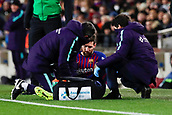 2nd February 2019, Camp Nou, Barcelona, Spain; La Liga football, Barcelona versus Valencia; Lionel Messi of FC Barcelona lies injured in the side of the pitch